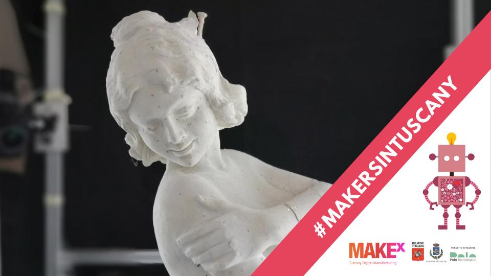statua in marmo all'interno di una gabbia di alluminio con macchine fotografiche creata da Artaxlab per ottenere modelli 3D mediante la tecnica della fotogrammetria
